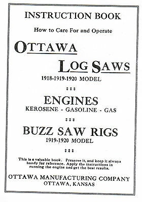 Ottawa Gas Engine Motor Buzz Log Saw Instruction Book Manual Hit Miss Magneto