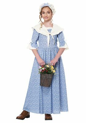 Colonial Village Girl Prairie Pioneer Dress Historical Child Costume - Kids Colonial Costumes