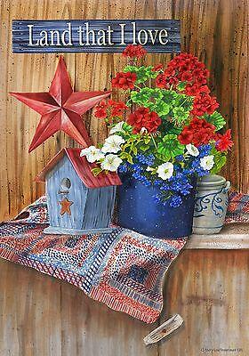 Small Country Flags ( Patriotic Land That I Love Americana Crock Geranium Petunias Country  Sm )