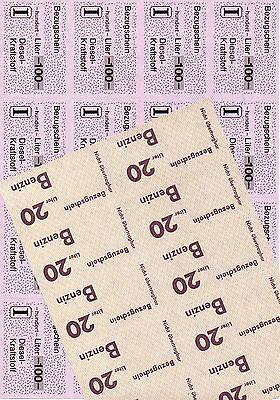 Saargebiet Saar 2 orig. Bögen Bezugscheine BENZIN DIESEL Dieselkarten 40er Jahre