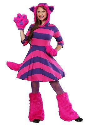 WOMEN'S ALICE IN WONDERLAND STRIPED CHESHIRE CAT COSTUME SIZE XL (with defect)