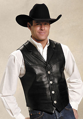 Leather Mens Roper (Roper Mens Black Cow Nappa Leather Buffalo Nickel Button Western Vest)