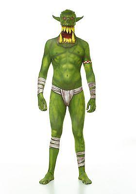 Kids Green Orc Jaw Dropper Child Costume Halloween Girls Boys Super Villains - Green Morph Suit