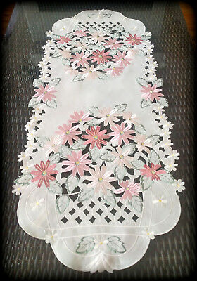 Dresser Scarf Embroidered Floral Daisies Pink Mauve Cream Table Runner Doily