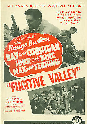 Fugitive Valley (1941)  Ray Corrigan, John 'Dusty' King western pressbook