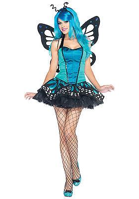 Sexy Halloween Adult Blue Swallowtail Butterfly Costume w Antennae](Blue Butterfly Halloween Costumes)