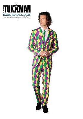 New Mardi Gras Suit Jacket & Pant Fat Tuesday Masquerade TUXXMAN Tuxedo Party - Masquerade Suits