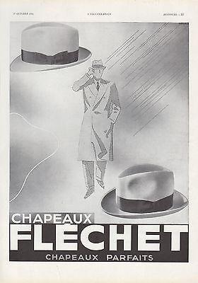 Publicite chapeaux flechet chapeau elegance homme men's fashion  hat ad 1934
