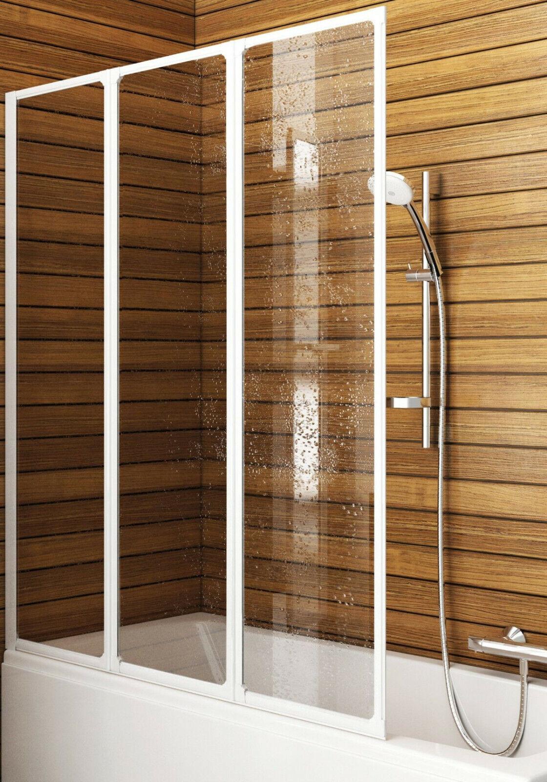 Badewannenfaltwand 120x140cm Duschtrennwand Faltwand Duschabtrennung Duschwand
