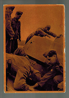Mint WW2 Germany Spain Blue Division Soldiers Inspecting Russian Tank Postcard