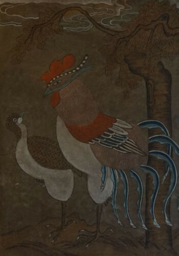 Very Fine Early 1900 Korean MinHwa Folk Painting Mystical Bird & Pheasant Jangji