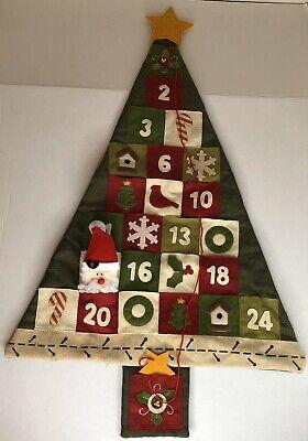 Countdown To Christmas Tree Advent Calendar Linen Felt With Santa