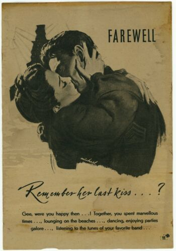 Remember her last kiss? German WWII Nazi Propaganda for Americans Leaflet