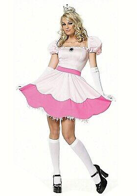 PINK PRINCESS Costume Woman Pink Sexy Peach Mario Crown Halloween Large LA - B32
