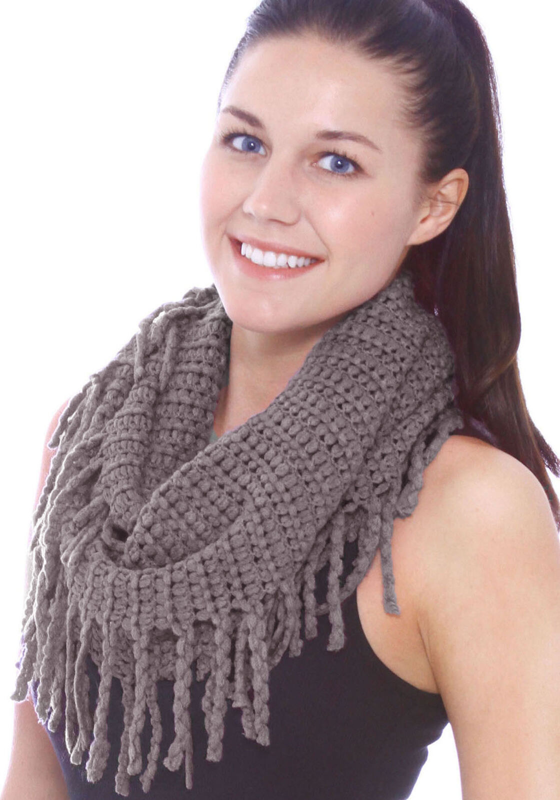 Women Solid Knitted Warm Winter Fringe Infinity Scarf Knit C