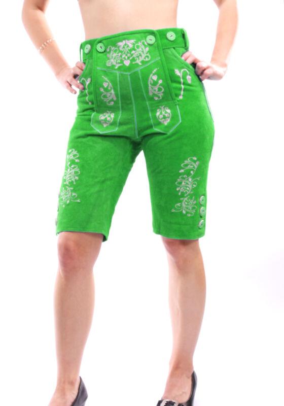 Lederhose for Women Knee-Breeches Costume Trousers Green Knee Length MITGR1