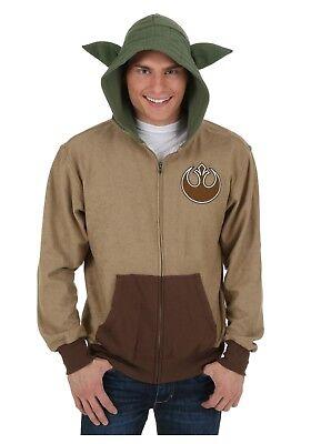 ADULT Star Wars Yoda Hooded Costume Fleece Zip-Up Hoodie SIZE LARGE