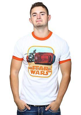 - Star Wars 7 Rey Riding Orange Ringer T-Shirt