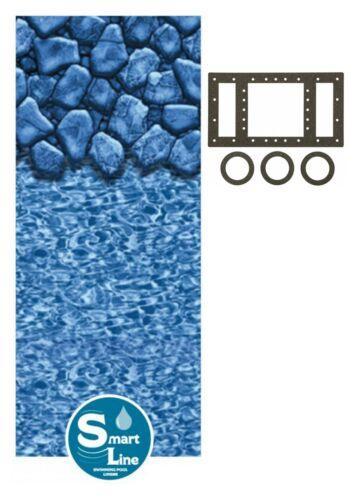 SmartLine Round & Oval Boulder Swirl Swimming Pool Overlap Liner w/ Gasket Kit