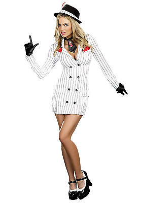 NEW WOMENS MAFIA MOB BOSS GANGSTER MOLL CRIMINAL HEN FANCY DRESS PARTY OUTFIT (Moll Outfit)