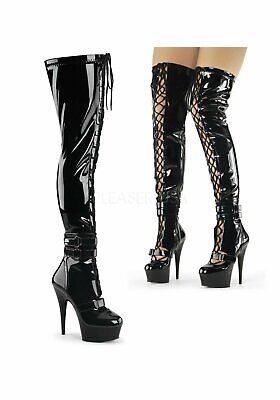 6 Inch Heel, Front Lace-Up Thigh High Boot, Side Zip