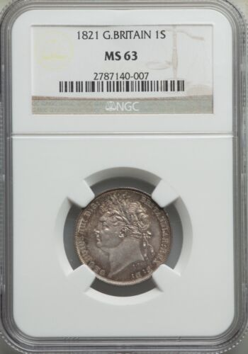 ENGLAND GEORGE IIII 1821  SHILLING SILVER COIN UNCIRCULATED NGC CERTIFIED MS-63