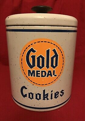 "Vintage 1975 Ransburg Gold Medal Flour 8"" Cookie Jar Tin With Lid"