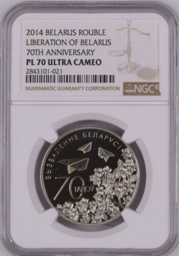 Belarus 2014 Rouble Liberation NGC PF 70 Perfect