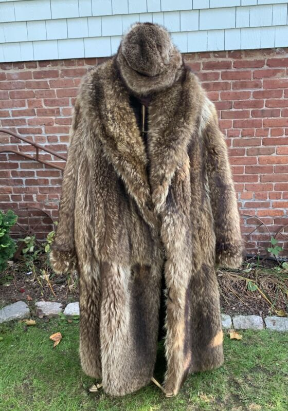 ANTIQUE c1900 C.G. GUNTHER'S & SONS FURRIERS FIFTH AVE NY RACCOON FUR LONG COAT