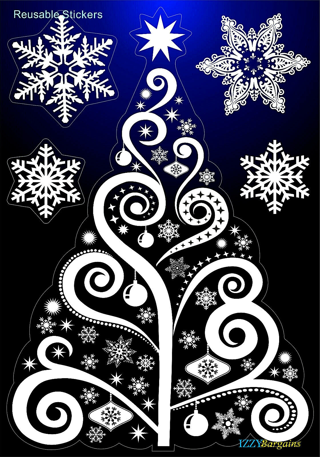 Home Decoration - CHRISTMAS TREE SNOWFLAKES STICKERS DECAL HOME WINDOW DECORATIONS GIFT REUSABLE +