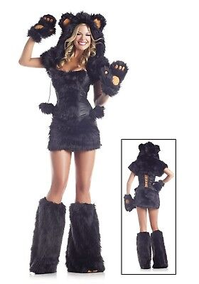 WOMEN'S DELUXE BLACK BEAR COSTUME (8 pc.) SIZE M/L (with defect) - Bear Costume Women