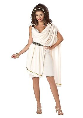 Roman Toga Costume Dxl Woman's Ivory 2 Pc Short Tunic With Drape & Belt