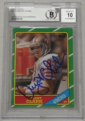 ff6175707 Dwight Clark Signed 1986 Topps 49ers Card  160 BAS Beckett COA Gem Mint 10  Auto