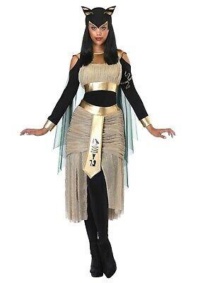 WOMEN'S BASTET EGYPTIAN GODDESS COSTUME USED SIZE LARGE (with defect)
