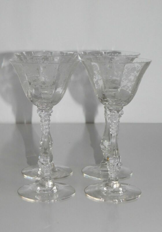 """4 CAMBRIDGE ROSEPOINT 6"""" TALL COCKTAIL GLASSES STEMS"""