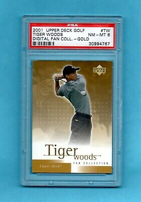 2001 Upper Deck Fan Collection Gold Tiger Woods rookie e-card #TW PSA 8 FREE Shp