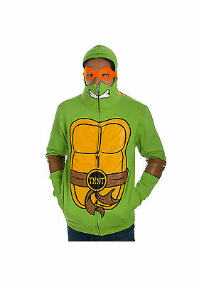 TEENAGE MUTANT NINJA TURTLES Full Zip Up Hoodie with Masks New Mens - Tmnt Zip Up Hoodie