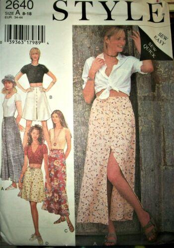 Miss Style 2640 Pattern Front Slit Skirt 2 Length UNCUT FF Size 8-10-12-14-16-18