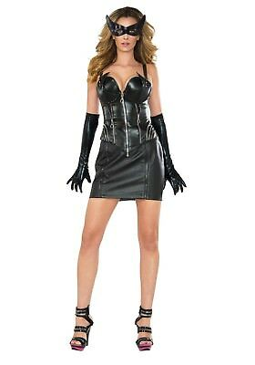 Catwoman Costume With Skirt (WOMEN'S DELUXE CATWOMAN CORSET COSTUME SIZE MEDIUM (with)