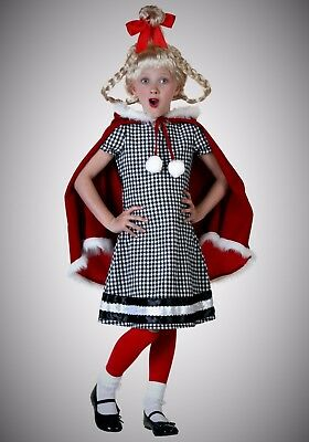 Xmas Girl Whoville Cindy Lou Costume Gift for Children Outfit Kid Child M Medium