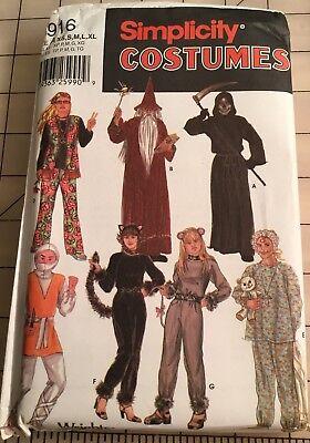 Simplicity Pattern 5916 Wizard Cat, Ninja Hippie Costume Adult XS to XL Uncut - Cat Ninja Costume