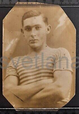 1939 Strongman Sailor Handsome man guy boy Sports Jock Muscle USSR antique photo