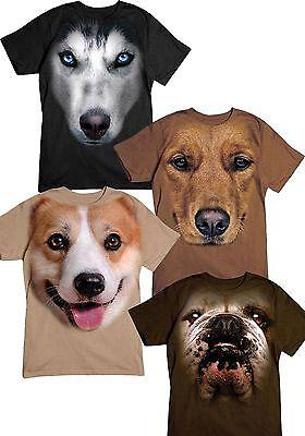 New Big  Bulldog, Corgi, Husky, and Golden Retriever Face T-shirts
