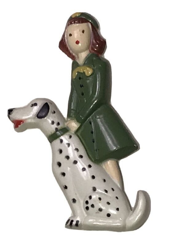Vintage 1948 Girl Scout with Dalmatian Dog Plastic Celluloid Pin Brooch
