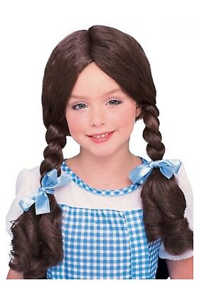 Heidi Costume Child (Dorothy Costume Wig Wizard of Oz Child Girl Brown Braided Heidi)