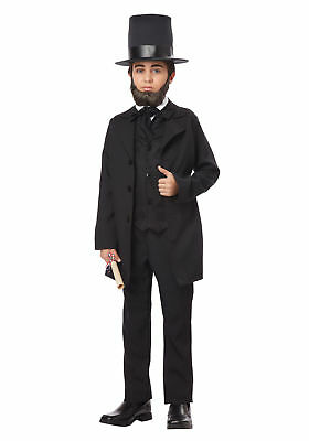 Abraham Lincoln President Jacket Tie Top Hat Costume Historical Child MD-XL (Abraham Lincoln Halloween Costume Baby)