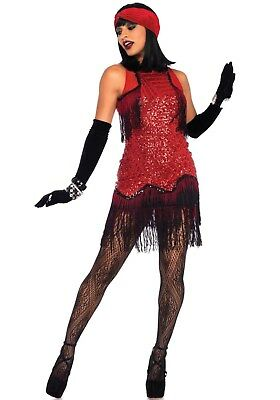 20er Jahre Kleid Kostüm (LAG Leg Avenue 86698 Damen Kostüm 20er Jahre Kleid Fransenkleid Gatsby Girl Tanz)