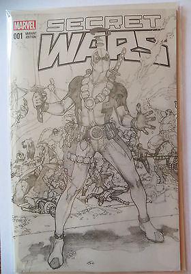 Secret Wars #1 Deadpool B&W Sketch Variant Comic - Simone Bianchi