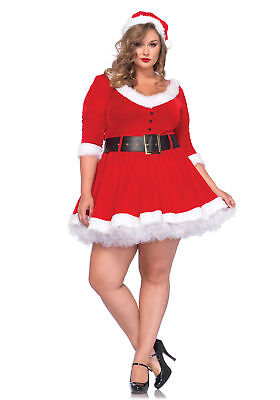 Leg Avenue Miss Santa Christmas Velvet Red Adult Dress with Hat 85411X Plus Size Plus Size Velvet Hat