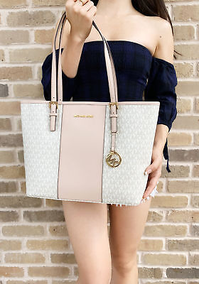 8ab17c6bc244db Michael Kors Jet Set Travel Medium Carryall Tote Vanilla MK Stripe Ballet  Pink